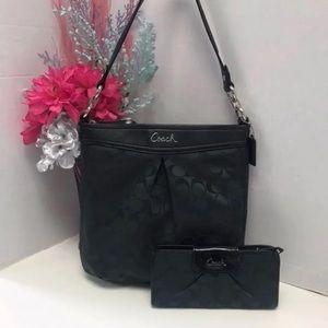 Coach Ashley Black Shoulder Bag+ Wallet Bundle/Set